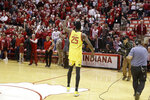 Maryland's Jalen Smith (25) shouts to the crowd after his team defeated Indiana in an NCAA college basketball game, Sunday, Jan. 26, 2020, in Bloomington, Ind. (AP Photo/Darron Cummings)