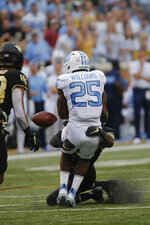 North Carolina running back Javonte Williams (25) fumbles the football after being hit by a Wake Forest defender during the first half of an NCAA college football game in Winston-Salem, N.C., Friday, Sept. 13, 2019. Wake Forest recovered the fumble. (AP Photo/Nell Redmond)