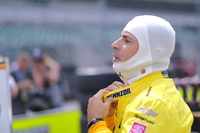 Helio Castroneves, of Brazil, prepares to drive during practice for the Indianapolis 500 IndyCar auto race at Indianapolis Motor Speedway, Friday, May 17, 2019 in Indianapolis. (AP Photo/AJ Mast)