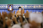 FILE - In this Nov. 27, 2019, file photo released by the official website of the office of the Iranian supreme leader, Supreme Leader Ayatollah Ali Khamenei waves to members of the Revolutionary Guard's all-volunteer Basij force in a meeting in Tehran, Iran. Khamenei on Wednesday, Dec. 4, 2019, reportedly called on judicial officials to treat those detained in recent nationwide protests with