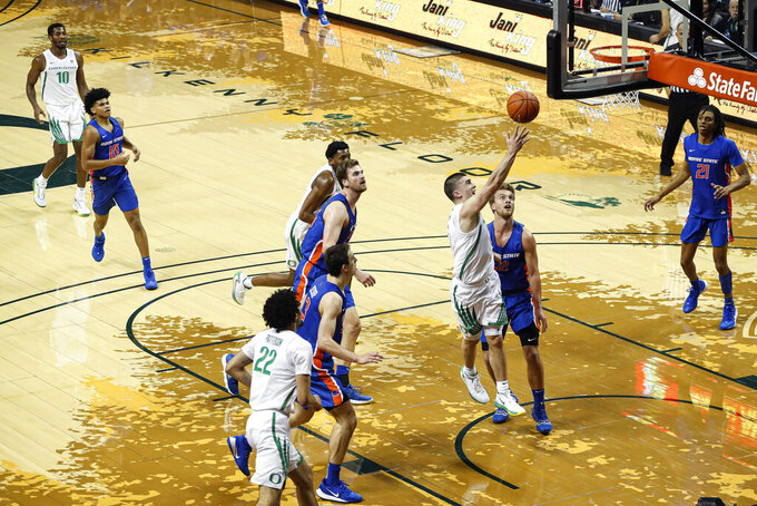 Oregon guard Payton Pritchard (3), shoots against Boise State in an NCAA college basketball game Saturday, Nov. 9, 2019, in Eugene, Ore. (AP Photo/Thomas Boyd)