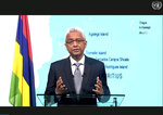 In this photo made from UNTV video, Pravind Kumar Jugnauth, Prime Minister of Mauritius, speaks in a pre-recorded message which was played during the 75th session of the United Nations General Assembly, Saturday, Sept. 26, 2020, at UN Headquarters. (UNTV Via AP )