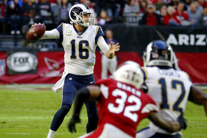 Los Angeles Rams quarterback Jared Goff (16) passes against the Arizona Cardinals during the first half of an NFL football game, Sunday, Dec. 1, 2019, in Glendale, Ariz. (AP Photo/Rick Scuteri)