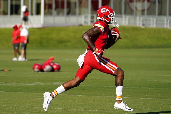 Kansas City Chiefs wide receiver Jody Fortson runs during an NFL football training camp practice Thursday, Aug. 27, 2020, in Kansas City, Mo. (AP Photo/Charlie Riedel)