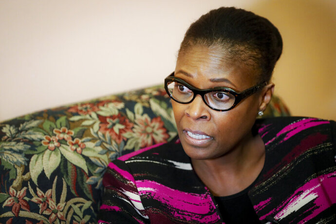 FILE - In this Oct. 30, 2019, file photo, Ohio State Sen. Sandra Williams speaks during an interview, in Columbus, Ohio. The killing of George Floyd has sparked broader discussions of race and discrimination in state legislatures across the country. Affirmative action, reparations and designating racism as a public health crisis are generating debate and a fair amount of controversy. (AP Photo/John Minchillo, File)