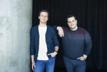 This Nov. 9, 2019 photo shows Jonathan Groff, who voices the character Kristoff, left, and Josh Gad, who voices the character Olaf, at The W Hotel in Los Angeles to promote their film
