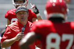 Georgia coach Kirby Smart gets the team ready to run 7-on-7's during warm ups for an NCAA football preseason scrimmage in Athens, Ga., on Saturday, Aug. 17, 2019. (Joshua L. Jones/Athens Banner-Herald via AP)