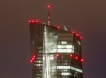 Red lights are seen at the European Central Bank in Frankfurt, Germany, Tuesday, Sept. 17, 2019. (AP Photo/Michael Probst)