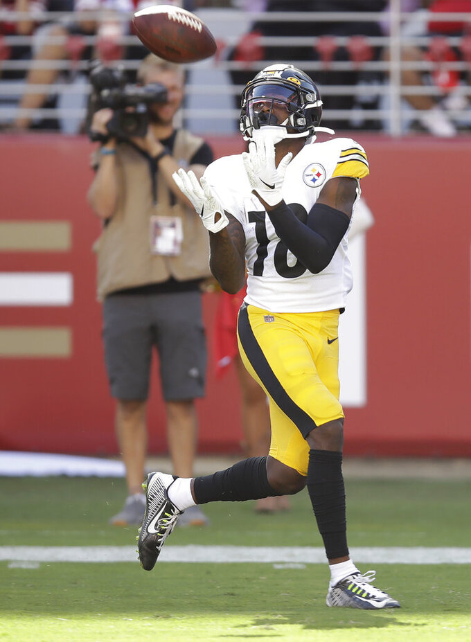Pittsburgh Steelers wide receiver Diontae Johnson catches a touchdown pass against the San Francisco 49ers during the second half of an NFL football game in Santa Clara, Calif., Sunday, Sept. 22, 2019. (AP Photo/Ben Margot)