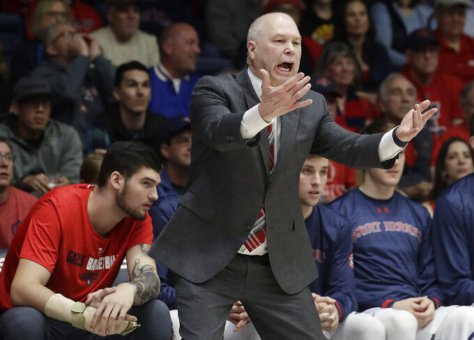 Saint Mary's coach Randy Bennett gestures during the first half of his team's NCAA college basketball game against Gonzaga in Moraga, Calif., Saturday, March 2, 2019. (AP Photo/Jeff Chiu)