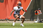 Cleveland Browns cornerback Greg Newsome II runs a drill during an NFL football rookie minicamp at the team's training camp facility, Friday, May 14, 2021, in Berea, Ohio. (AP Photo/Tony Dejak)