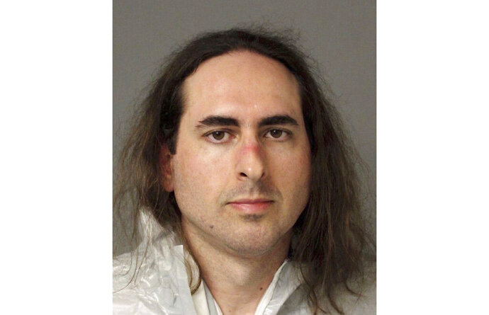 FILE - This June 28, 2018, file photo provided by the Anne Arundel Police shows Jarrod Ramos in Annapolis, Md. Lawyers are scheduled to argue about whether a psychologist's observations about Ramos, who killed five people at a Maryland newspaper, should be heard by jurors who will decide whether he's criminally responsible because of his mental health. A pretrial hearing set for Wednesday, Aug. 5, relates to the second part of the case against Ramos, who already has pleaded guilty to killing five at the Capital Gazette newspaper in 2018. (Anne Arundel Police via AP, File)
