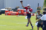 New England Patriots quarterback Brian Hoyer (2) makes a pass during an NFL football training camp practice, Sunday, Aug. 23, 2020, in Foxborough, Mass. (AP Photo/Steven Senne, Pool)