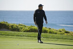 Phil Mickelson reacts after missing a birdie putt on the fourth green of the Pebble Beach Golf Links during the final round of the AT&T Pebble Beach National Pro-Am golf tournament Sunday, Feb. 9, 2020, in Pebble Beach, Calif. (AP Photo/Eric Risberg)