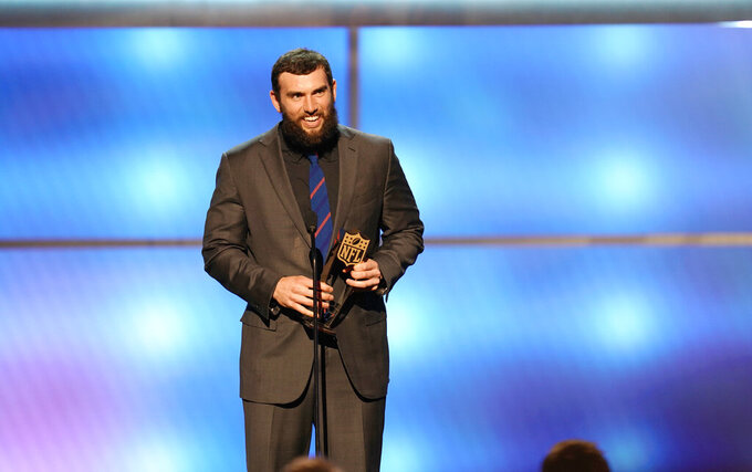Andrew Luck of the Indianapolis Colts accepts the award for AP comeback player of the year at the 8th Annual NFL Honors at The Fox Theatre on Saturday, Feb. 2, 2019, in Atlanta. (Photo by Paul Abell/Invision for NFL/AP Images)