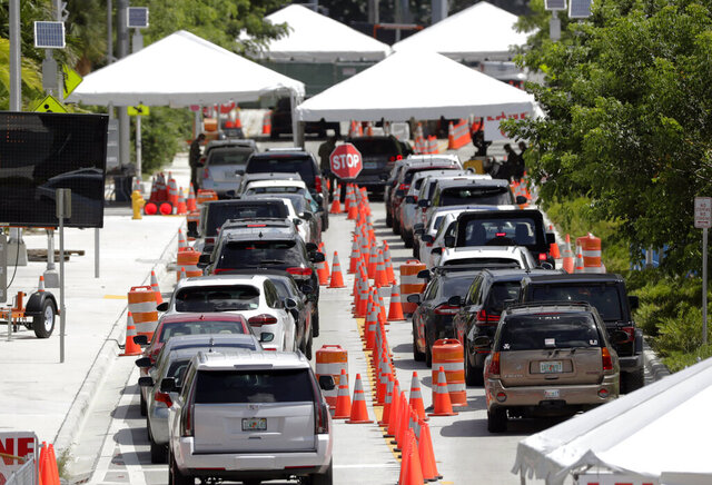 FILE - In this June 26, 2020, file photo lines of cars wait at a drive-through coronavirus testing site outside the Miami Beach Convention Center in Miami Beach, Fla. An Associated Press analysis of coronavirus case data shows the virus has moved, and is spreading quickly, into Republican areas, a new path with broad potential political ramifications. (AP Photo/Wilfredo Lee, File)