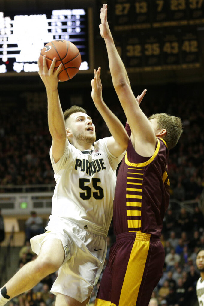 Purdue guard Sasha Stefanovic (55) goes up for a layup during the first half of an NCAA college basketball game in West Lafayette, Ind., Saturday, Dec. 28, 2019. (Nikos Frazier/Journal & Courier via AP)