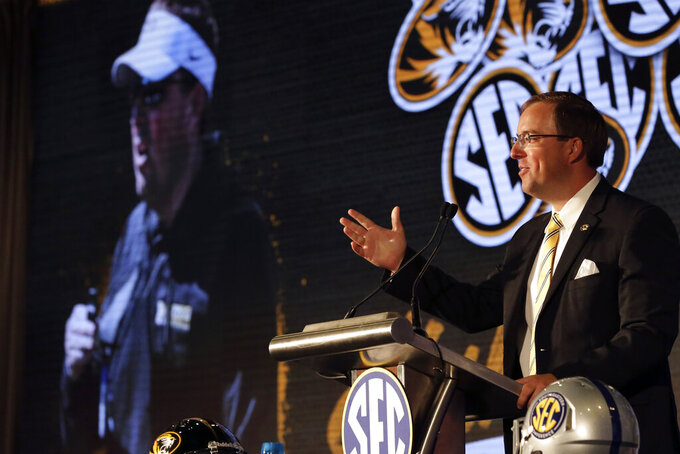 Missouri head coach Eliah Drinkwitz speaks to reporters during the NCAA college football Southeastern Conference Media Days Thursday, July 22, 2021, in Hoover, Ala. (AP Photo/Butch Dill)