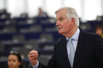 European Union chief Brexit negotiator Michel Barnier speaks during a debate over how the UK and EU27 governments will manage citizens' rights after Brexit, at the European parliament Tuesday, Jan.14, 2020 in Strasbourg, eastern France. (AP Photo/Jean-Francois Badias)