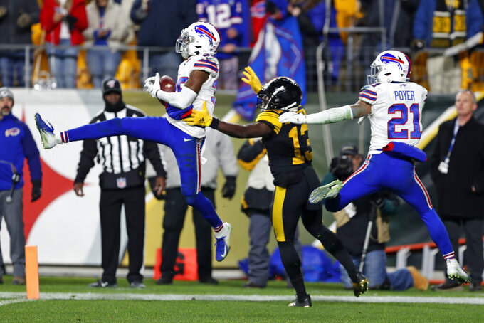 Buffalo Bills cornerback Levi Wallace (39) intercepts a pass intended for Pittsburgh Steelers wide receiver James Washington (13) in the end zone during the second half of an NFL football game in Pittsburgh, Sunday, Dec. 15, 2019. The Bills won 17-10. (AP Photo/Keith Srakocic)