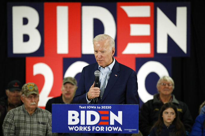 Democratic presidential candidate former Vice President Joe Biden speaks during a campaign event on foreign policy at a VFW post Wednesday, Jan. 22, 2020, in Osage, Iowa. (AP Photo/John Locher)