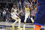 Indiana Pacers' Wesley Matthews (23) and Myles Turner (33) celebrate during the second half of an NBA basketball game against the Oklahoma City Thunder,Thursday, March 14, 2019, in Indianapolis. Indiana won 108-106. (AP Photo/Darron Cummings)