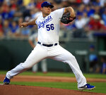 Kansas City Royals starting pitcher Brad Keller delivers to a St. Louis Cardinals batter during the first inning of a baseball game at Kauffman Stadium in Kansas City, Mo., Wednesday, Aug. 14, 2019. (AP Photo/Orlin Wagner)