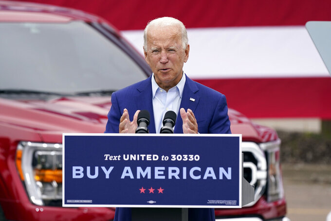 FILE - In this Wednesday, Sept. 9, 2020 file photo, Democratic presidential candidate former Vice President Joe Biden speaks during a campaign event on manufacturing and buying American-made products at UAW Region 1 headquarters in Warren, Mich. On Friday, Sept. 11, 2020, The Associated Press reported on stories circulating online incorrectly asserting Biden wants to introduce a 3% annual federal tax on your home. But nothing in Biden's tax plan indicates homeowners would be subject to an additional 3% federal property tax. (AP Photo/Patrick Semansky)