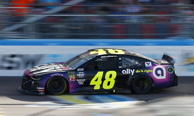 Jimmie Johnson drives during the NASCAR Cup Series auto race at ISM Raceway, Sunday, March 10, 2019, in Avondale, Ariz. (AP Photo/Ralph Freso)
