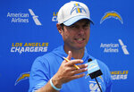 Los Angeles Chargers coach Brandon Staley speaks during a news conference after the team's joint NFL football practice with the San Francisco 49ers in Costa Mesa, Calif., Thursday, Aug. 19, 2021. (AP Photo/Damian Dovarganes)