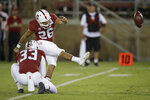 Stanford's Jet Toner (26) kicks a field goal against Washington during the first half of an NCAA college football game Saturday, Oct. 5, 2019, in Stanford, Calif. (AP Photo/Ben Margot)