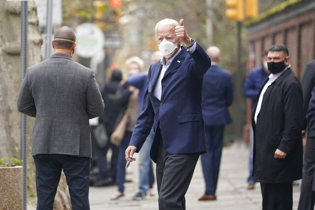 FILE - In this Dec. 12, 2020 file photo, then President-elect Joe Biden leaves a doctor's appointment at Pennsylvania Hospital in Philadelphia. Biden has brought back Dr. Kevin O'Connor as his physician, replacing President Donald Trump's doctor with the one who oversaw his care when he was vice president(AP Photo/Susan Walsh)