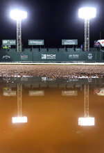 Stadium lights are reflected in a puddle on the warning track in front of the Boston Red Sox dugout in a break from heavy rain during a weather delay with the score tied 4-4 in the 10th inning of the Red Sox's baseball game against the Kansas City Royals at Fenway Park in Boston, Wednesday, Aug. 7, 2019. (AP Photo/Charles Krupa)
