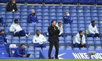 Chelsea's head coach Frank Lampard, center, reacts during the English Premier League soccer match between Southampton and Chelsea at the Stamford Bridge in London, England, Saturday, Oct. 17, 2020.(Mike Hewitt/Pool via AP)