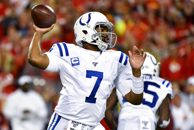 Indianapolis Colts quarterback Jacoby Brissett (7) throws a pass during the first half of the team's NFL football game against the Kansas City Chiefs in Kansas City, Mo., Sunday, Oct. 6, 2019. (AP Photo/Ed Zurga)