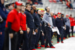 Maryland interim head coach Matt Canada, at right in gray, stands on the sideline in the first half of an NCAA college football game against Illinois, Saturday, Oct. 27, 2018, in College Park, Md. (AP Photo/Patrick Semansky)