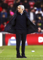 Tottenham Hotspur manager Jose Mourinho reacts on the touchline during the game against Middlesbrough, during their English FA Cup third round match at the Riverside Stadium in Middlesbrough, England, Sunday Jan. 5, 2020. (Owen Humphreys/PA via AP)