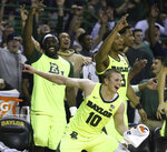 Baylor guard Makai Mason (10) reacts to a score against TCU in the second half of an NCAA college basketball game, Saturday, Feb. 2, 2019, in Waco, Texas. (Rod Aydelotte/Waco Tribune-Herald via AP)