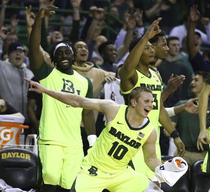Baylor guard Makai Mason (10) reacts to a score against TCU in the second half of an NCAA college basketball game, Saturday, Feb. 2, 2019, in Waco, Texas. (Rod Aydelotte/Waco Tribune-Herald via AP)