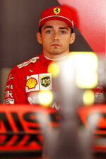 Ferrari driver Charles Leclerc of Monaco prepares at his garage, prior to the start of the second free practice at the Barcelona Catalunya racetrack in Montmelo, just outside Barcelona, Spain, Friday, May 10, 2019. The Formula One race will take place on Sunday. (AP Photo/Joan Monfort)