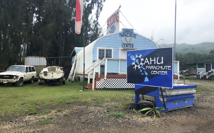FILE - This June 28, 2019 file photo, shows the Oahu Parachute Center near Dillingham Airfield in Waialua, Hawaii. The skydiving company that was operating a plane that crashed and killed 11 people last month did not have the proper state permits to take people skydiving. Documents released by the state Wednesday, July 10, 2019, show Oahu Parachute Center was
