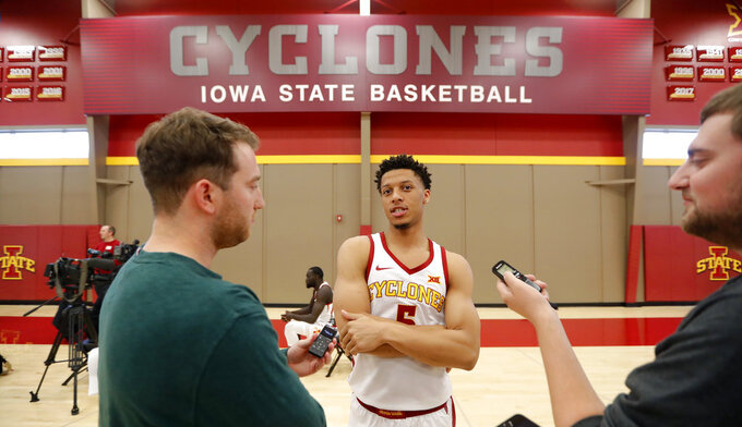 Iowa State guard Lindell Wigginton is interviewed during Iowa State's NCAA college basketball media day, Thursday, Oct. 11, 2018, in Ames, Iowa. (AP Photo/Charlie Neibergall)