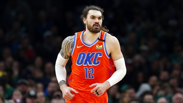 Oklahoma City Thunder's Steven Adams plays against the Boston Celtics during an NBA basketball game, Sunday, March, 8, 2020, in Boston. Adams has agreed to a two-year extension with the Pelicans following his trade to New Orleans as part of a four-team deal that also sent guard Jrue Holiday from the Pelicans to Milwaukee. A person familiar with the deal says Adams' extension is worth $35 million. The person spoke to The Associated Press on condition of anonymity Tuesday, Nov. 24, 2020 because financial terms have not been announced. (AP Photo/Michael Dwyer)