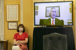 Tre Hargett, Tennessee Secretary of State, speaks via videoconference about the election, Wednesday, July 22, 2020, to the Senate Rules and Administration Committee, on Capitol Hill in Washington. (AP Photo/Jacquelyn Martin)