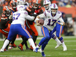 Buffalo Bills quarterback Josh Allen (17) scrambles during the second half of an NFL football game against the Cleveland Browns, Sunday, Nov. 10, 2019, in Cleveland. (AP Photo/Ron Schwane)