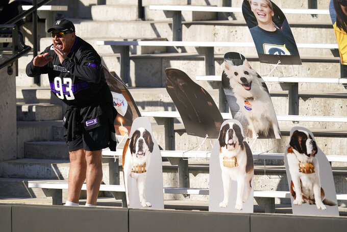 A Northwestern fan yells from the stands during the first half of an NCAA college football game between Iowa and Northwestern, Saturday, Oct. 31, 2020, in Iowa City, Iowa. (AP Photo/Charlie Neibergall)