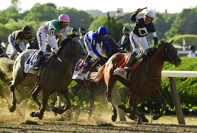 Jockey Joel Rosario, atop Sir Winston (7), right, reacts as after crossing the finish line ahead of Tacitus (10), with jockey Jose Ortiz up, to win the 151st running of the Belmont Stakes horse race, Saturday, June 8, 2019, in Elmont, N.Y. (AP Photo/Steven Ryan)