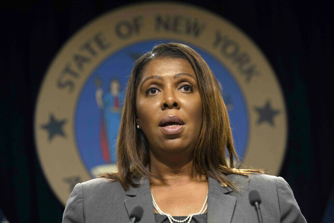 FILE - In this Tuesday, June 11, 2019, file photo, New York Attorney General Letitia James speaks during a news conference, in New York. James has sent cease-and-desist letters to two companies that are selling do-it-yourself rape kits to sexual assault survivors. She says the products being marketed by MeToo Kit and Preserve Group raise concerns because the companies are implying that DNA evidence collected using their kits could be admissible in court.(AP Photo/Mary Altaffer, File)