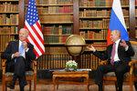 U.S. President Joe Biden, left, and Russia's President Vladimir Putin, right, meet for the U.S.-Russia summit at Villa La Grange in Geneva, Switzerland, Wednesday, June 16, 2021. (Denis Balibouse/Pool Photo via AP)