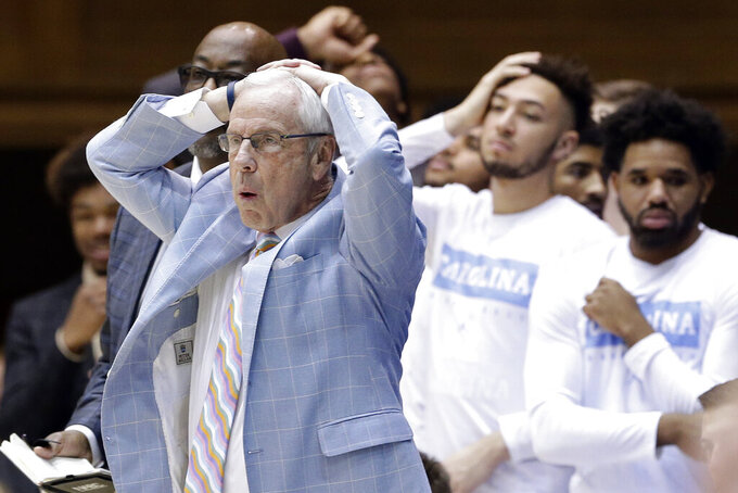 North Carolina head coach Roy Williams reacts during the second half of an NCAA college basketball game against Duke in Durham, N.C., Saturday, March 7, 2020. (AP Photo/Gerry Broome)